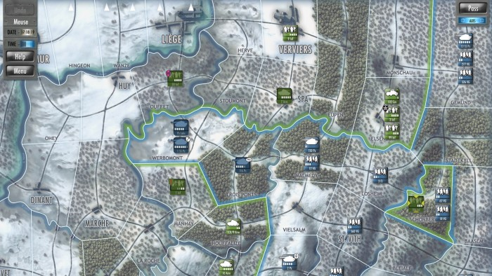 On the third day I am just one area from the Meuse river objective, but American forces are threatening my vulnerable flanks, and fuel shortages prevent my leading tanks from exploiting the gap at Stoumont.