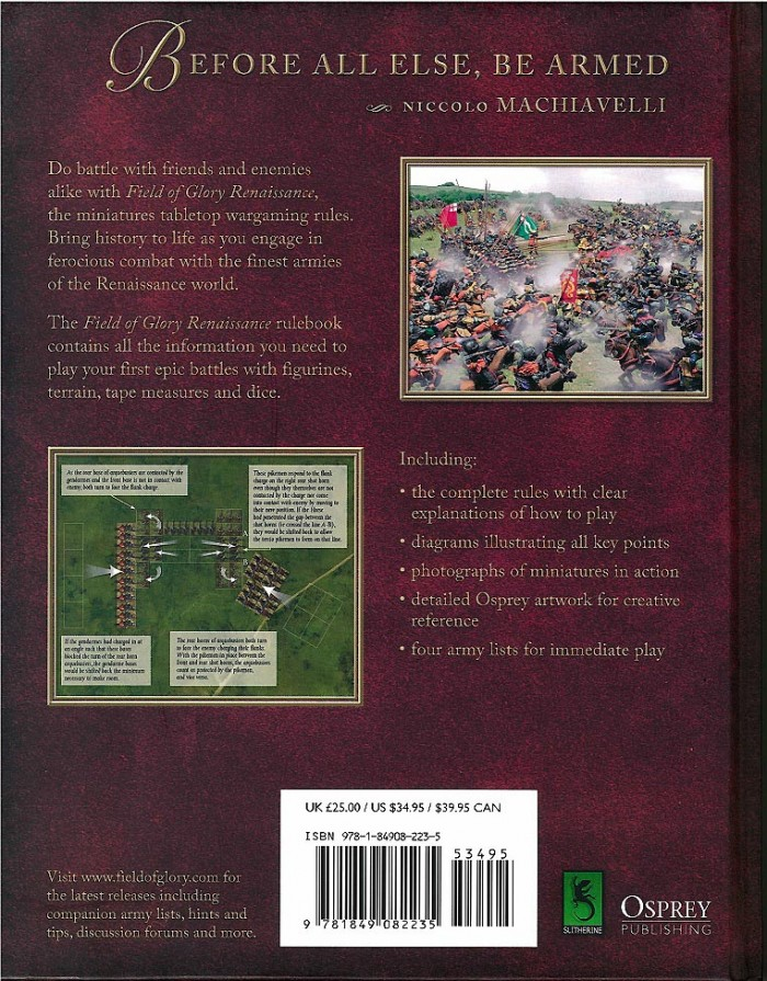 The Field of Glory: Renaissance rule set not only provides wargame rules for the period, but also sport Osprey Publishing's artwork, which is a very attractive feature if you need any inspiration in painting a Renaissance army. (Image courtesy of Slitherine Ltd.).
