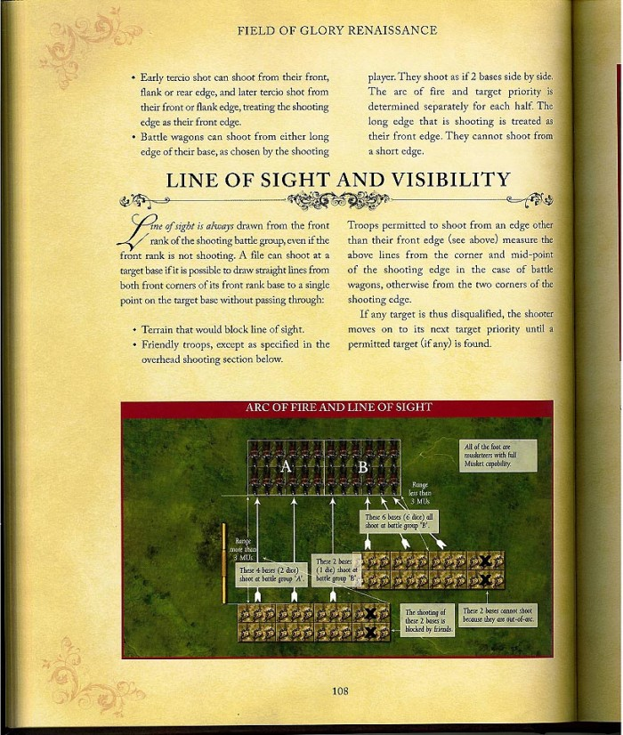 Field of Glory: Renaissance rules provide both clear written and visual explanations of the rules, yet interpretations will be argued by wargamers with all the skill of a courtroom lawyer! (Image courtesy of Slitherine Ltd.).