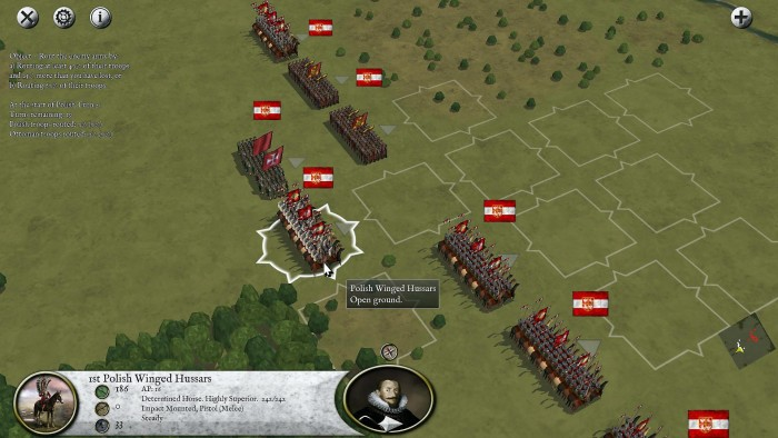 The first battle of my Polish-Turkish war. One nice feature of Pike and Shot Campaigns over Pike and Shot is the improved zoom feature, which shows off my winged hussars quite nicely. Polski husaria!