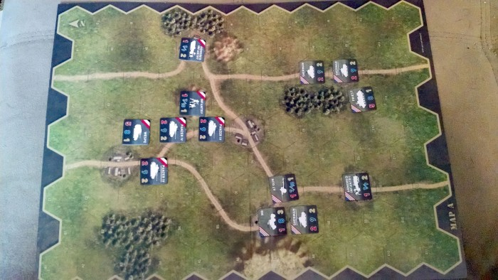 Setup of a meeting engagement using the scenario generator. The American player has some lighter forces further forward. The Germans are remaining rather compact (so far).