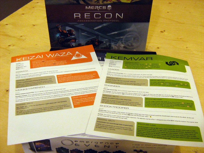 Info sheets for each House/faction in the box. Important info on these sheets! Don't discard!