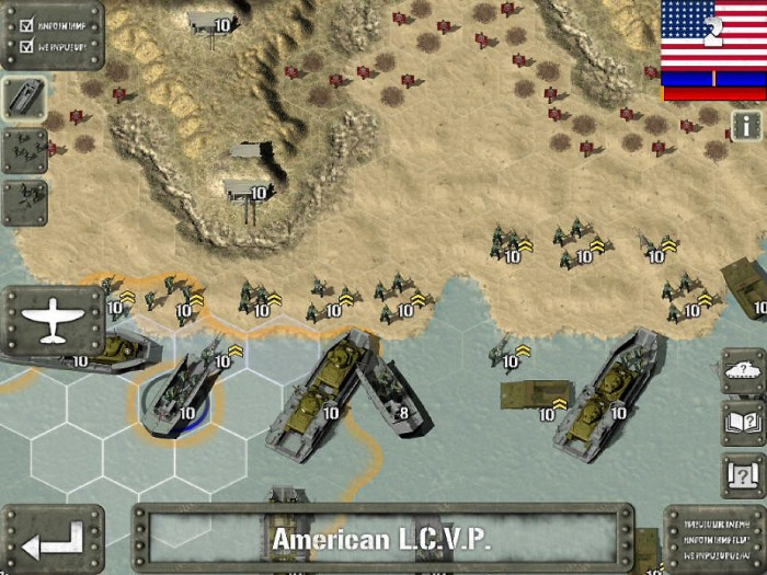 Assaulting Japan – note the chevrons, because they indicate the unit's experience level. This is one of the more challenging scenarios, with tons of minefields and Japanese bunkers to overcome. This screenshot is from the app store.