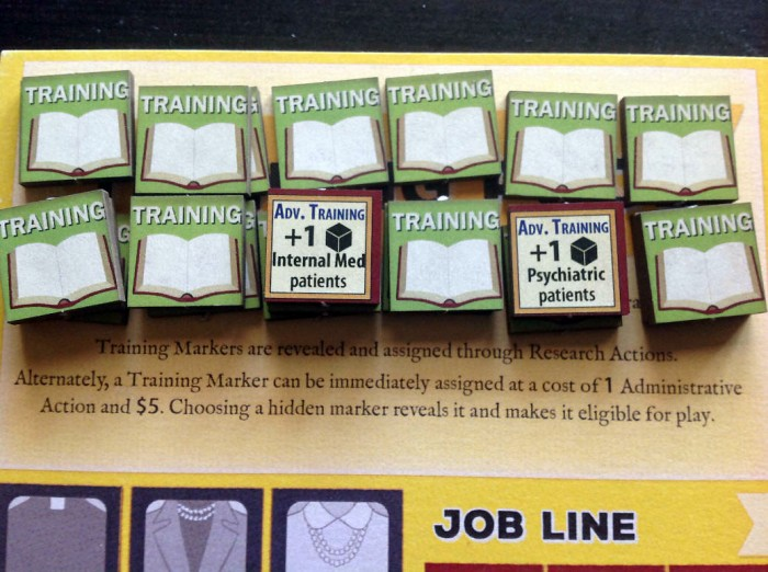 Training Counters, two of which begin the game turned up.