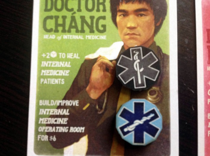 Doctor Chang looks a lot like Bruce Lee. He's good at healing green Internal Medicine patients, and gives a discount to building the Internal Medicine Operating Room.