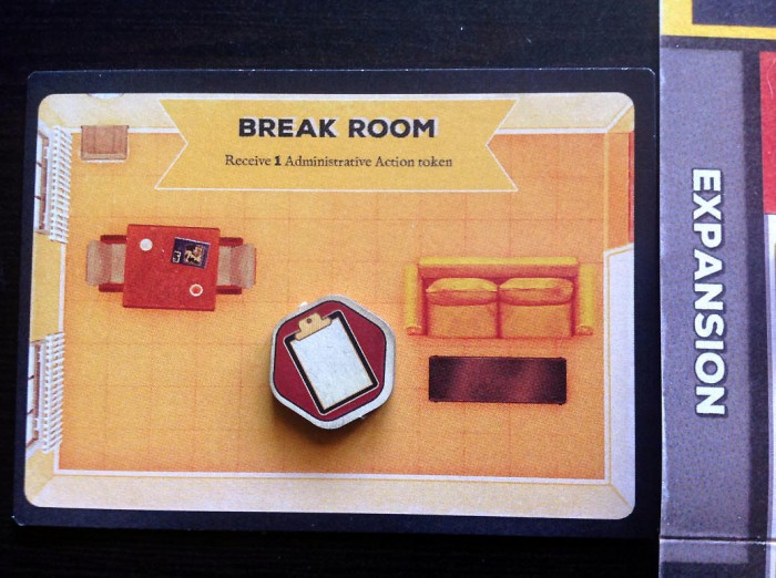 The Break Room initially gives you one extra Admin Action. It can be improved to the next level by flipping the card over, which gives you an additional Medical Action, too.