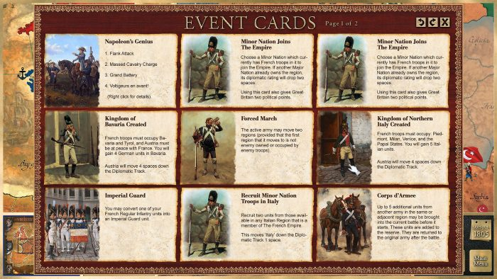 Event cards provide a nice range of options, some of which bring immediate benefits, but some have a diplomatic trade off by raising diplomatic tension. This translates into diplomatic points the other side can spend on various diplomatic actions.
