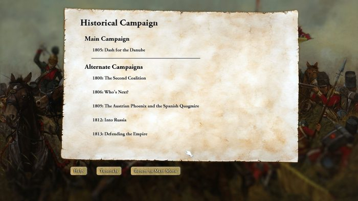 All the campaigns you'd expect. It gives a player a good variety of starting situations.