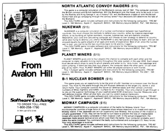 Remember when Avalon Hill got into the software game?