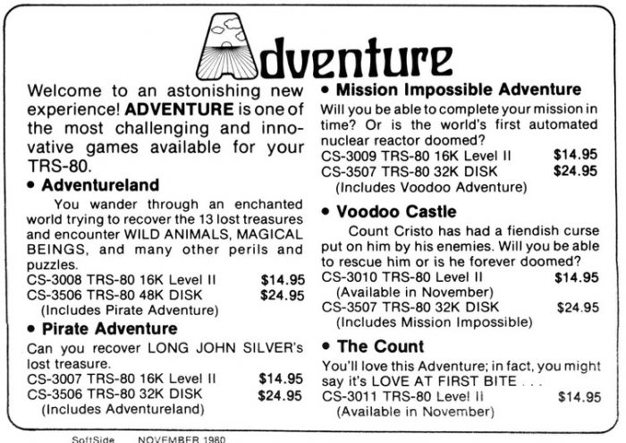 Old-school 'adventure' games for software. You want that on cassette?