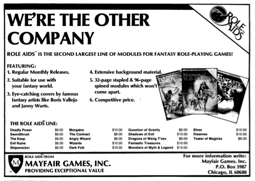 After Judges Guild, the Role-Aids line was one of the original third-party series you could use for early 1ed-AD&D gaming.