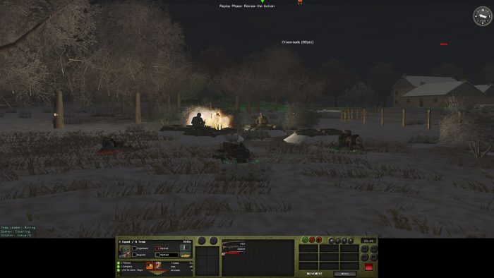 The firefight continues, with a Panzerschreck round lighting up the surroundings. The lighting effects are nice at night, which is one reason I think adding flares would be good.