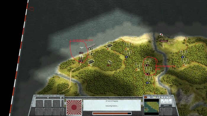 Turn 26 Jap air targets my arty but Jap ground defense is crumbling